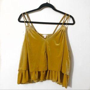 Xhileration Marigold Yellow Velvet Tiered Tank Top